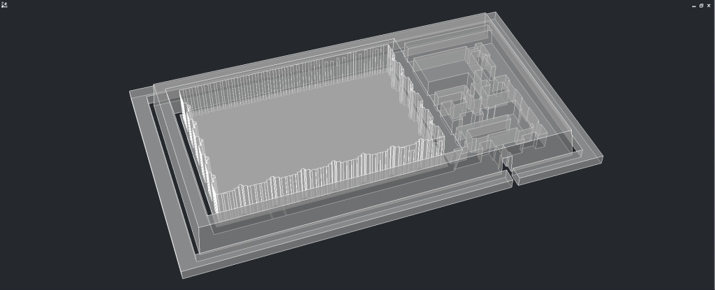Isometric view of the tomb model through an x-ray filter