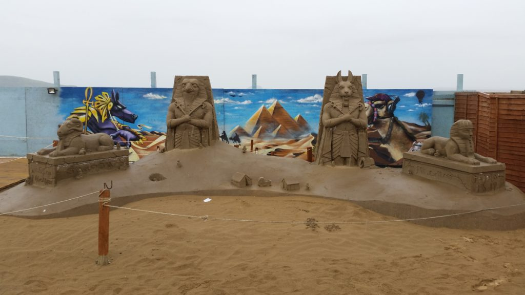 The Archaeologist composition at Weston-Super-Mare Sand Sculpture Festival